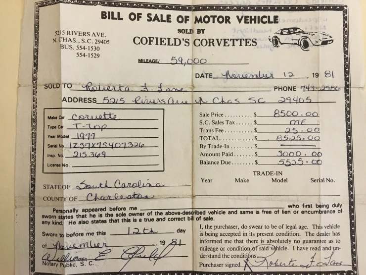 Cofield's Corvette receipt